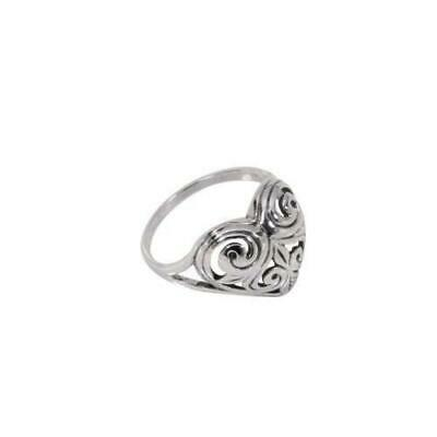 Sterling Silver Antique Style Dome Heart Ring With Carved Swirls Design in Rhodi