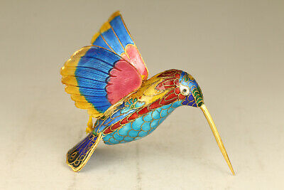 Rare Chinese old silver cloisonne hand painting humingbird statue snuff bottle