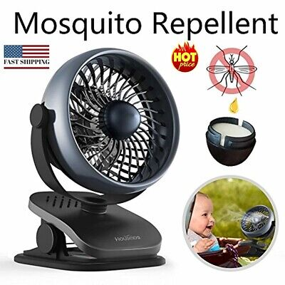 Clip-on Stroller Fan, Mosquito-Repellent, Essential-Oil-Diffused & Recharg Black