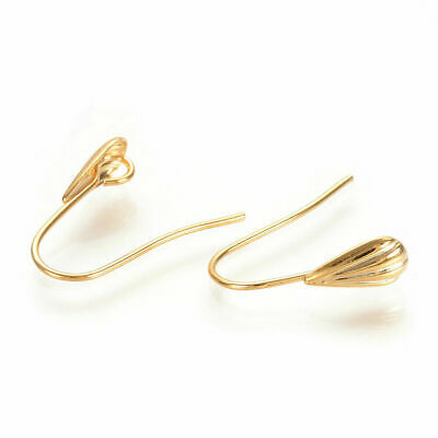 10x 16K Real Gold Plated Brass Earring Hooks Shell French Earwires w/ Loop 16mm