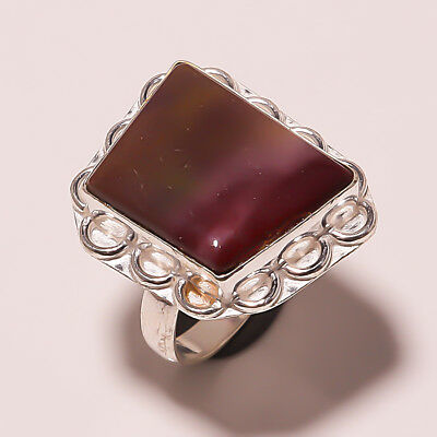 Natural Bloodstone Silver Plated Handmade Ring -us SIZE 9.75