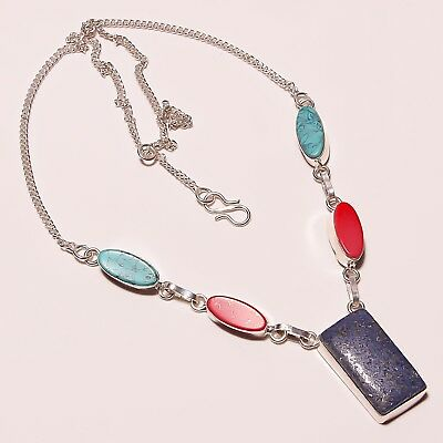 "Amazing Lapis Lazuli Coral Turquoise Silver Plated Necklace 17-18""(n-936)"