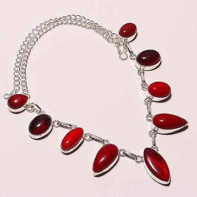"""Awesome ! Spongy Coral Carnelian Silver Plated Handmade Necklace 17""""-18""""(N-124)"""