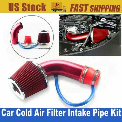 Fit Corvette C5//Jeep Wj Kj//Dakota Dual Twin Intake Induction Pipe+Red Air Filter