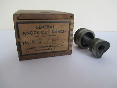 "Vintage General Hardware Mfg Co Knock-Out Punch No 9 (7/8"") Wooden Box Made USA"