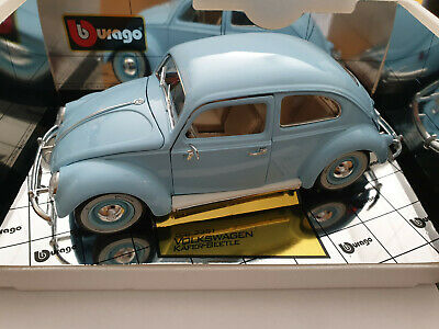 Burago 1/18 Scale Diecast 3381 Volkswagen Kafer Beetle 1955 Blue Model Car