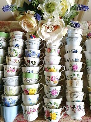 Job lot 10 Vintage Mismatched China Tea Cups baby shower Wedding Tea Party