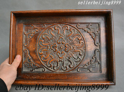 Old China Huang Huali Wood Carving Flower Auspicious Pattern Pallet Tray Shallow
