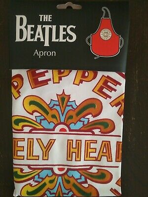 THE BEATLES - Sgt Peppers Lonely Hearts Club Band - Red / Black Cotton Apron