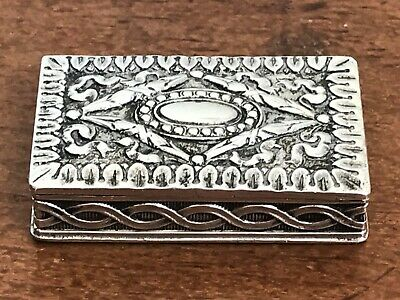 Antique Victorian Era German 800 Grade Cast Silver Pill Box - c.1900