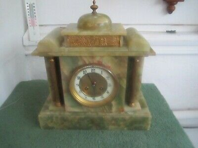 Antique French Onyx Striking Mantel Clock For Spares - Repairs.