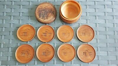 Antique Japanese Asian Oriental Hand Carved  Boxed Wooden Satsuma Coaster Set x8