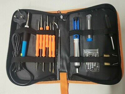 Full 18pc 60W Adjustable Soldering Iron Kit With Carry Case - New, UK