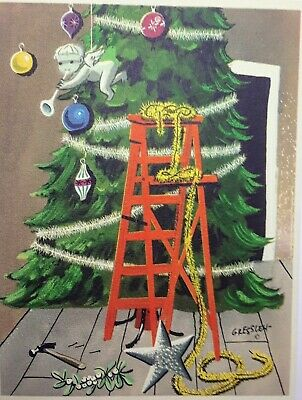 Vintage MCM Christmas Card Decorating the Tree artist sig Edward C. Greesley