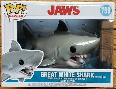 """BIG Funko POP! Movies Jaws 8"""" Vinyl Figure with Diving tank Great White Shark"""