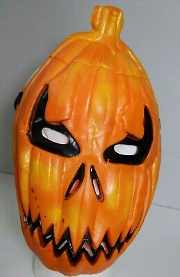 Evil Creepy Pumpkin Rubber Mask With String Halloween Haunted House Decoration