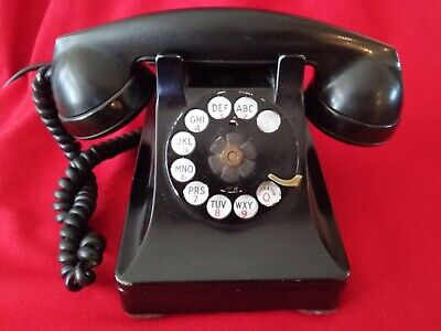 General Electric Bell System Black Antique Rotary Dial Corded Adapter Telephone