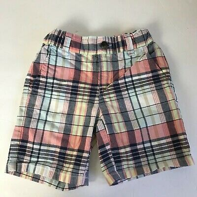 janie jack 3 Boys Shorts Plaid Pink Blue Cotton Chinos Toddler