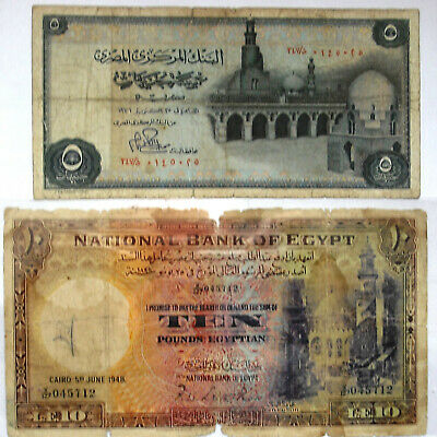 Egypt Notes,1948, 1976, 2 Vintage notes, 10 Pound, and 5 P0und, g/f