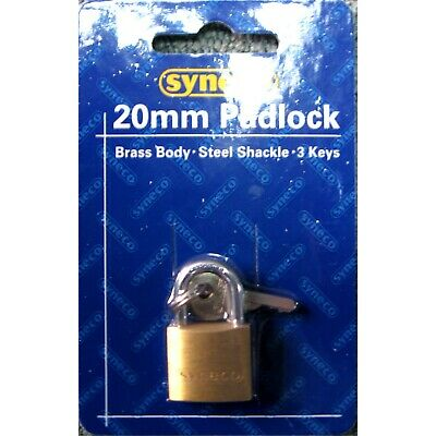 Syneco SOLID BRASS 20mm PADLOCK Steel Shackle with 3 keys
