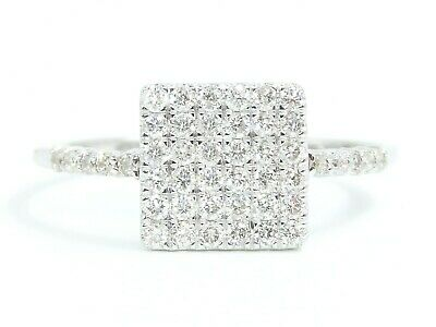 14K Solid White Gold Natural White Diamond Cluster Pave Square Ring EFFECT 2CT