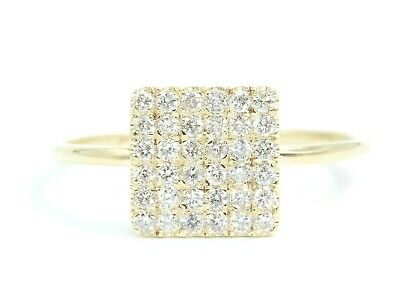 14K Solid Yellow Gold Natural Diamond Cluster Pave Square Ring EFFECT Like 2CT