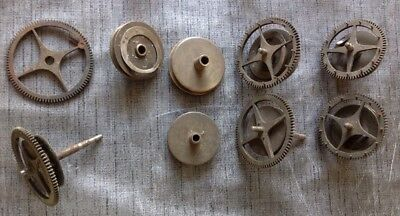 Antique Longcase Clock Parts Cogs Wheels Pulleys Ex Clockmakers Collection