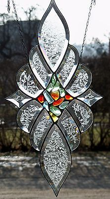Stained Glass Leaded Faceted Window Image with Tiles Centre in Tiffany