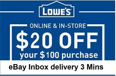 Two 2x Lowes $20 OFF $100Coupons-InStore and Online -Very--Fast-Delivery----