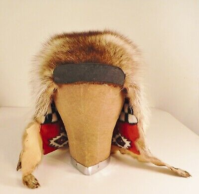 037180101 RACCOON HEADDRESS NATIVE American Beadwork Mountain Man coonskin hat ...