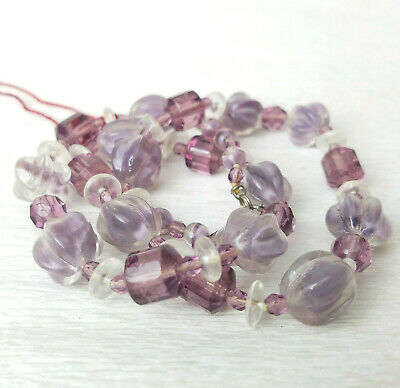 VTG ATQ Givre Molded Lavender Amethyst Glass Bead Knotted Necklace