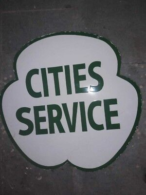 """Porcelain Cities Service Enamel Sign Size 30"""" Inches double sided"""