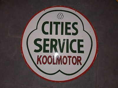 """Cities Service Koolmotor Porcelain sign 30""""  double sided"""