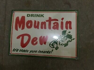 """Porcelain Mountain Dew Enamel Sign Size 12"""" x 8"""" Inches Pre-Owned"""