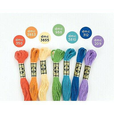 New DMC Floss Colorful Rainbow 7 Skeins - Free Shipping!!