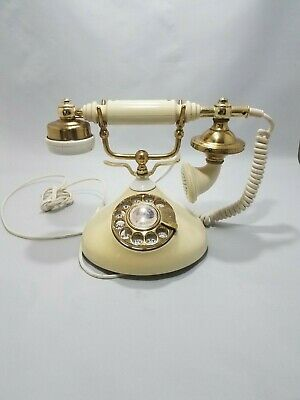Vintage French Victorian Style Rotary Dial Telephone Made in Korea - not tested