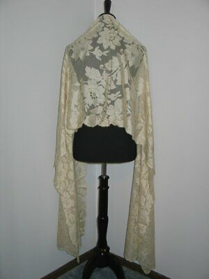 "Exquisite Antique Victorian French Chantilly Lace Shawl~Mantilla Silk-22.5""x102"""