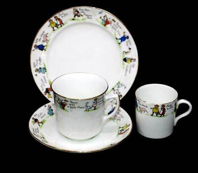 Antique Atlas Grimwade Bros nursery rhymes teacup trio & coffee cup