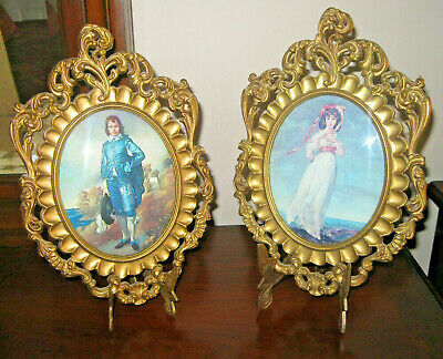 Pair Vtg Pinkie & Blue Boy Picture  Wall Decor Ornate Convex Glass Made Italy