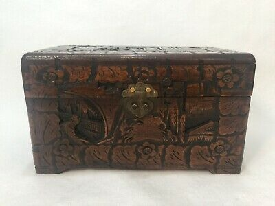 "Vintage Chinese Handcarved Wooden Trinket Chest Box, 11 3/4"" x 7"" x 6 3/4"" High"