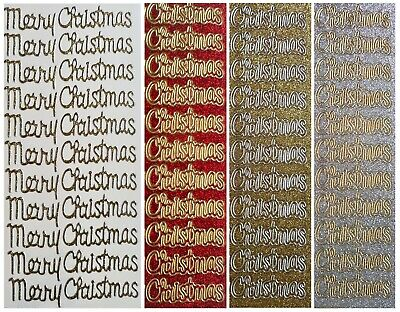MERRY CHRISTMAS Glitter Peel Off Stickers Gold Silver Red Card Making