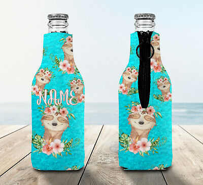 Sloth Personalised Stubby Holder Zip Up Bottle Cooler Collapsible