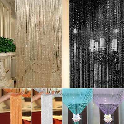 Glitter Door String Curtain Panels Fly Screen Room Divider Voile Net Curtains UK