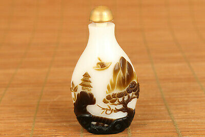 Chinese old glass hand carved West Lake of Hangzhou snuff bottle