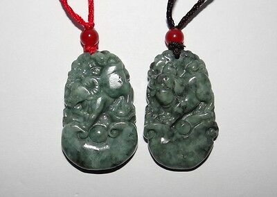 "1.5""China Certify Nature Jadeite Jade Hisui Grade A Blessing Pig&Ox Pair Pendant"