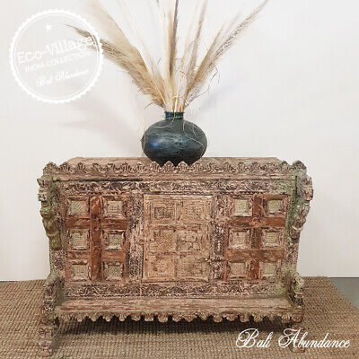 Vintage Damchiya Indian Dowry box with Ornate Carving - Eco Village Collection