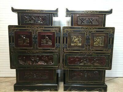 """Vintage Pair Chinese Lacquer Cabinet Night Stand Tables, 26"""" T x 16"""" W x 10"""" D"""