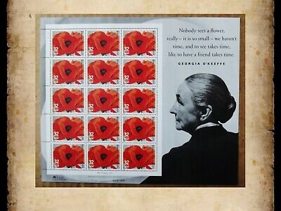 US Scott 3069 Georgia O'Keeffe Red Poppy MNH Sheet of 15 32 Cent 32c Stamps