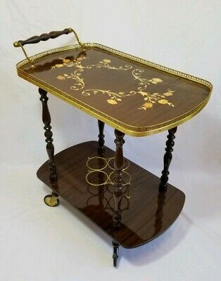 Vintage Italian Marquetry Inlaid Wine/Tea/Beverage Cart Trolley Stand w/ Wheels