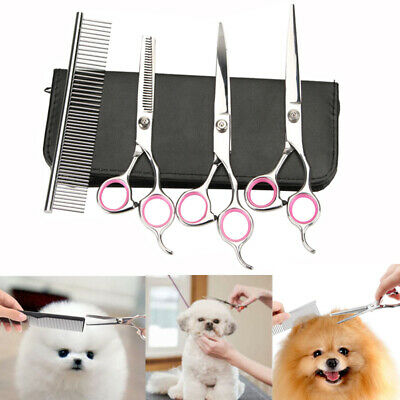 """7"""" Hair Cutting Pet Dog Cat Grooming Scissors Cutting Curved Thinning Shears Set"""